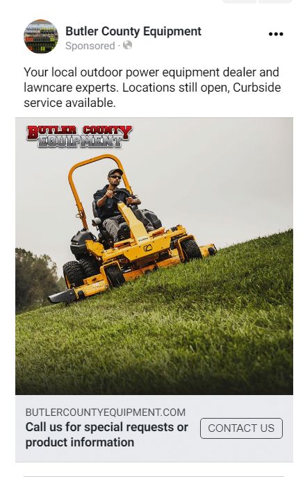 facebook ad for local dealership