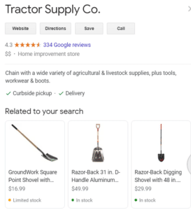 Example of Google Merchant Center Local Inventory